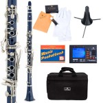 Cecilio 2Series Blue ABS Bb Clarinet + Tuner, Case, Stand, Pocketbook & Accessories