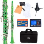 Cecilio 2Series Green ABS Bb Clarinet + Tuner, Case, Stand, Pocketbook & Accessories