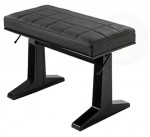 Concert Hydraulic Modern Polished Ebony Genuine Leather Piano Bench for Piano Players and Teachers