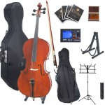 Cecilio CCO-500 Highly Flamed Ebony Fitted Cello Package + Tuner, Hard & Soft Case, Music & Cello Stand, Bow, Rosin & Strings
