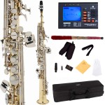 Cecilio 2Series Gold Lacquer Bb Soprano Saxophone with Nickel Plated Keys + Tuner, Case, Mouthpiece, 11 Reeds, & More