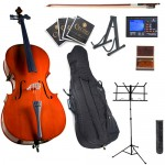 Cecilio CCO-100 Student Cello Package + Tuner, Soft Case, Music & Cello Stand, Bow, Rosin, Bridge, & Extra Set Strings