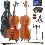 Cecilio CCO-600 Oil Finish Highly Flamed Solidwood Cello +Tuner, Fiberglass & Soft Case, Music & Cello Stand, Bow,Rosin & String