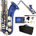 Cecilio 2Series Blue Lacquer Bb Tenor Saxophone with Gold Keys + Tuner, Case, Mouthpiece, 11 Reeds, & More