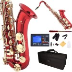 Cecilio 2Series Red Lacquer Bb Tenor Saxophone with Gold Keys + Tuner, Case, Mouthpiece, 11 Reeds, & More