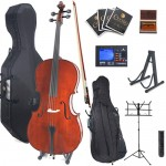 Cecilio CCO-400 Ebony Fitted Solid Wood Cello Package + Tuner, Hard & Soft Case, Music & Cello Stand, Bow, Rosin & Strings