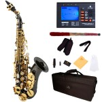 Cecilio 2Series Black Nickel Plated Curved Bb Soprano Saxophone with Gold Plated Keys +Tuner, Case, Mouthpiece, 11 Reeds, & More