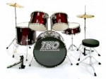 TKO 424 5-Piece Kit Drum Set with Cymbals and throne