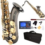 Cecilio 2Series Black Nickel Plated Bb Tenor Saxophone with Gold Keys + Tuner, Case, Mouthpiece, 11 Reeds, & More