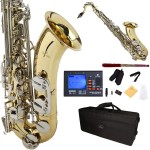 Cecilio 2Series Gold Lacquer Bb Tenor Saxophone with Nickel Plated Keys + Tuner, Case, Mouthpiece, 11 Reeds, & More