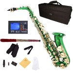Cecilio 2Series Green Lacquer Eb Alto Saxophone with Gold Keys + Tuner, Case, Mouthpiece, 11 Reeds, & More