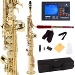 Cecilio 2Series Gold Lacquer Bb Soprano Saxophone + Tuner, Case, Mouthpiece, 11 Reeds, & More