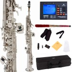 Cecilio 2Series Nickel Plated Bb Soprano Saxophone + Tuner, Case, Mouthpiece, 11 Reeds, & More