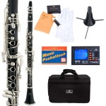Cecilio 2Series Black Ebonite ABS Bb Clarinet + Tuner, Case, Stand, Pocketbook & Accessories