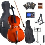 Cecilio Student Cello Package + Tuner, Hard & Soft Case, Music & Cello Stand, Bow, Rosin, Bridge, & Extra Set Strings