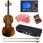 Cecilio Handmade Premium Flamed 1-Piece Back Ebony Viola with Tuner, Deluxe Case, 2 Bows, Rosin & Extra Set Strings