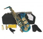 Blue Lacquer Eb Alto Sax with Case and Accessories Saxophone free shipping