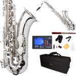 Cecilio 2Series Nickel Plated Body & Keys Bb Tenor Saxophone + Tuner, Case, Mouthpiece, 11 Reeds, & More
