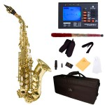 Cecilio 2Series Gold Lacquer Curved Bb Soprano Saxophone + Tuner, Case, Mouthpiece, 11 Reeds, & More