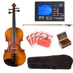 Cecilio Solidwood Ebony Fitted Viola Package with Tuner, Case, Bow, Rosin & Extra Set Strings