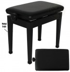 Ebony Padded Adjustable Piano Bench with Metal Legs