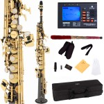 Cecilio 2Series Black Nickel Plated Bb Soprano Saxophone with Gold Keys + Tuner, Case, Mouthpiece, 11 Reeds, & More